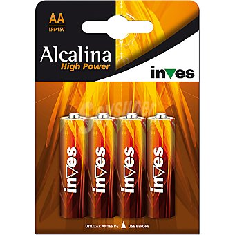 INVES HIGH POWER Pila super alcalina AA (lr6) 1,5 voltios blister 4 unidades