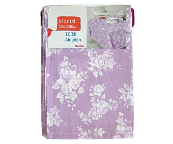 AUCHAN Mantel estampado floral color violeta, 100% algodón, 150x200 centímetros 1 Unidad