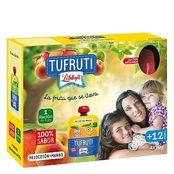 Libby's Tufruti de melocotón y mango en bolsita Pack 4x90 g