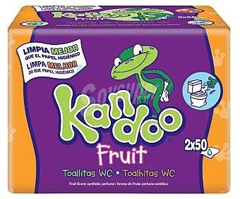 Kandoo Toallitas infantiles con aroma a frutas tropicales recambio (25% gratis incluido en el precio) 100 unidades