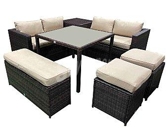 KACTUS REPUBLIC Lombok Conjunto de jardín de 7 piezas, 2 sofás, 2 taburetes, banco, mesa y mesa alta, Republik.