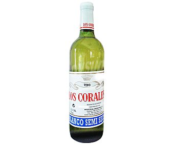 LOS CORALES Vino blanco semiseco Botella de 75 Centilitros