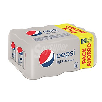 PEPSI Refresco de Cola Light Pack 12 Latas de 33 Centilitros