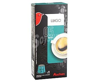 Auchan Café molido de tueste natural lungo (café largo) en monodosis 10 unidades 55 gramos