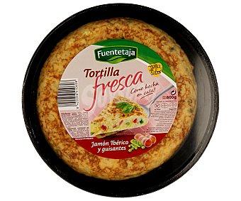 Fuentetaja Tortilla fresca de jamón ibérico y guisantes 600g