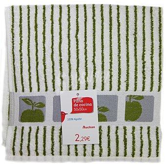 Auchan Paño de cocina de rizo, estampado color verde, 50x50 centímetros 1 Unidad
