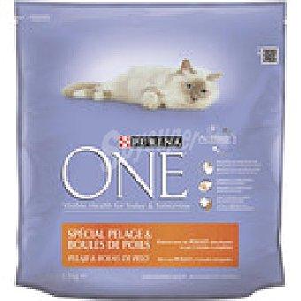 PURINA ONE Especial pelaje y bolas de pelo para gatos con pollo y cereales integrales  paquete 1,5 kg