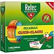 Recarga para pulsera antimosquitos repelente Click-Clack caja 2 recambios verde y naranja pulsera no incluida  Relec