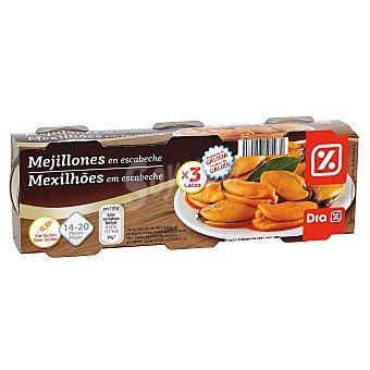 DIA Mejillones en escabeche pack de 3 latas x 43 grs Pack de 3 latas