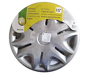 """Productos Económicos Alcampo Tabacubo con acabado en color plata para ruedas de 15"""" 1 unidad"""