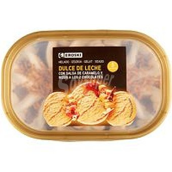 Eroski Helado dulce leche salsa caramelo Tarrina de 485 g