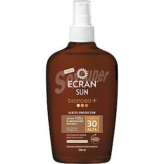 ECRAN SUN Broncea+ aceite protector FP-30 resistente al agua sin autobronceador spray 200 ml
