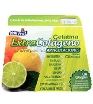 Yelli Fruit Gelatina citrico extracolageno sin azucar Pack de 4x100 g.