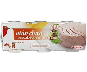 Auchan Atún claro en escabeche Pack 3 unidades de 52 gramos