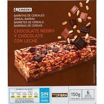 Eroski Barritas de cereales-chocolate Caja de 6x25g