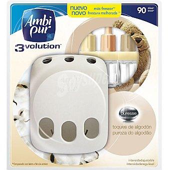 AMBIPUR 3VOLUTION Ambientador eléctrico Puresse toques de algodón 3 fragancias aparato + recambio