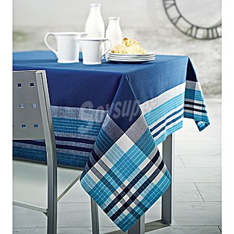 CASACTUAL Paris mantel jacquard rectangular en color azul 150 x 200 cm