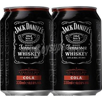 Jack Daniel's Cóctel cola pack ahorro 4 latas 33 cl Pack ahorro 4 latas