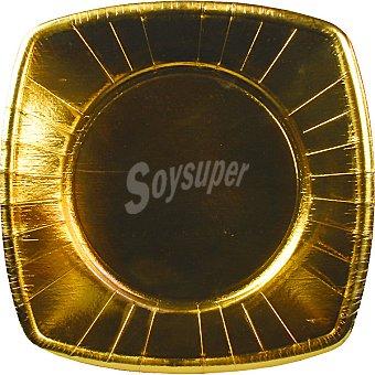 PAP STAR plato cartón oro 20x20 cm  paquete 8 unidades