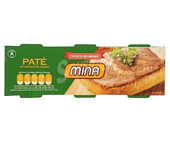 Mina Paté de hígado de cerdo Pack de 3 unidades de 70 gramos