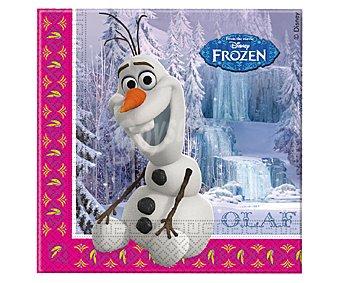 Disney Servilletas desechables de papel doble capa con diseño Olaf de Frozen, 33x33 centímetros Pack de 20 unidades
