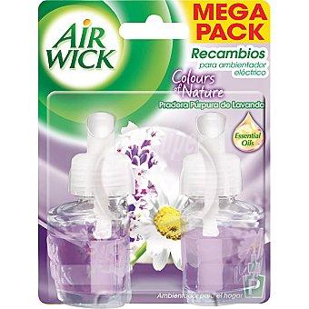 AIR WICK Ambientador eléctrico Pradera Purpura de Lavanda  recambio 2 unidades