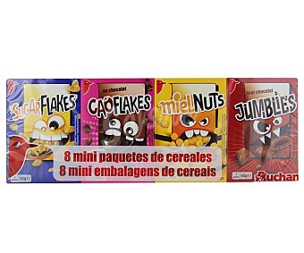Auchan Surtido de cereales (chococrack, caoflakes, sugarflakes, mielnuts y Jumblies) Pack de 8 unidades de 32,5 gramos