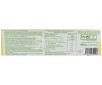 Auchan Bio Yogur Batido con Pulpa Fruta Ecológico 8x125g
