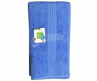 AUCHAN Toalla de algodón lisa de baño, color azul, 100x150 centímetros 1 Unidad
