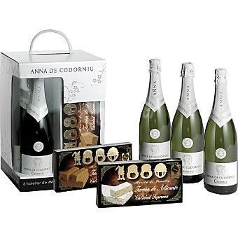 Anna de Codorniu Cava brut estuche 3 botellas 75 cl + regalo turrón 1880 Jijona y Alicante tabletas de 150 g Estuche 3 botellas 75 cl