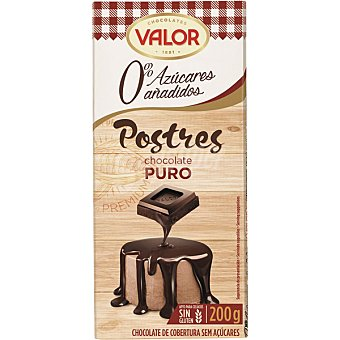 Valor Chocolate a la taza sin azúcar Tableta 200 g