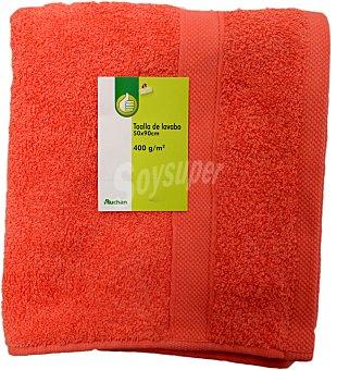 Productos Económicos Alcampo Toalla lisa de lavabo de algodón cardado, color coral, 50x90 centímetros 1 Unidad