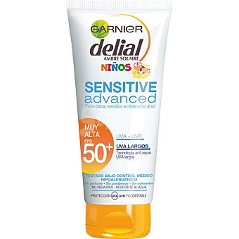 Garnier Leche solar niños Advanced FP-50 resistente al agua para pieles claras sensibles e intolerantes al sol tubo de 200 ml