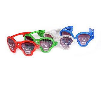 GOODMARK Gafas de Halloween con forma de calavera y luces led, pilas incluidas Gafas Halloween c/luz