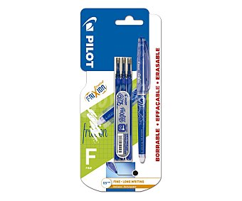 PILOT Frixion Bolígrafo del tipo roller, con punta de aguja y con grosor de escritura de 0.5 milímetros, con tinta líquida borrable de color azul + 3 recargas Frixion point