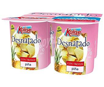 Kalise Yogur 0% materia grasa con trozos de piña 4 x 125 g