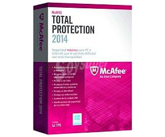 McAfee Total Protection 2014 1 PC. Potente protección para PC. Cifrado de archivos y carpetas. Protección para redes sociales. Protección de redes inalámbricas. Herramientas de privacidad y optimización del PC. Control parental eficaz. Filtro de soam y correo electrónico peligroso. Firewall bidireccional.