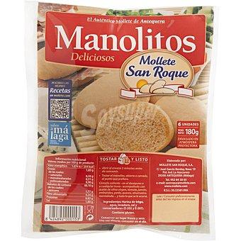 Mollete san roque Manolitos 6 unidades listo para tostar bolsa 180 g bolsa 180 g