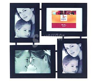 IMAGINE Portafotos múltiple de color negro modelo Lyra para 4 fotos de 10x15 centímetros, tamaño exterior: 31x30 centímetros 1 Unidad