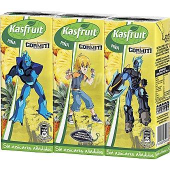 Kasfruit Zumo de piña sin azucares añadidos Pack 3 envase 200 ml