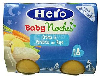 HERO BABY TARRITO CREMA DE VERDURAS CON RAPE NOCHES A PARTIR 8 MESES PACK 2 x 190 g - 380 g