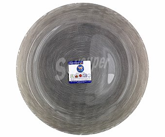 LUMINARC Plato hondo modelo Stonemania de 20 centímetros, fabricado en vidrio templado de color gris y moderno diseño de lineas en espiral 1 Unidad