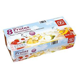 DIA Yogur desnatado 0% con trozos de frutas pack 8 unidades 125 g