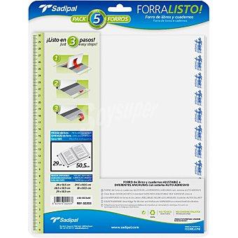 SADIPAL Forra Listo forros para libros y cuadernos ajustables a diferentes anchuras con sistema auto-adhesivo 29 cm Pack 5