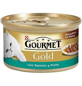 """Gourmet Purina Bocaditos en salsa """"delicias de salmón y pollo"""" para gatos Gold Lata 85 g"""