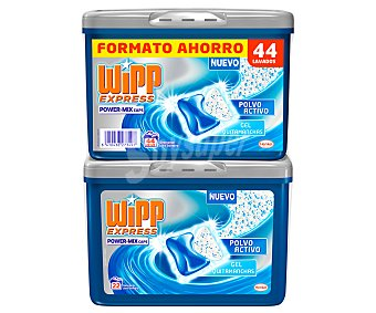 Wipp Express Detergente para lavadora en cápsulas con polvo activo y gel quitamanchas 44 unidades