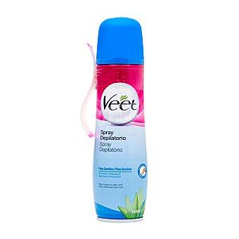 Veet Crema depilatoria hidratante aloe vera y vitamina E para piel sensible Spray 150 ml