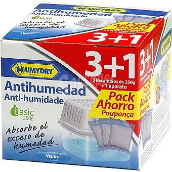 Humydry Antihumedad Basic neutro pack ahorro 3 recambios de 250 g + aparato Pack ahorro 3