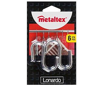 METALTEX Ganchos cromados para barras de cocina 6 unidades