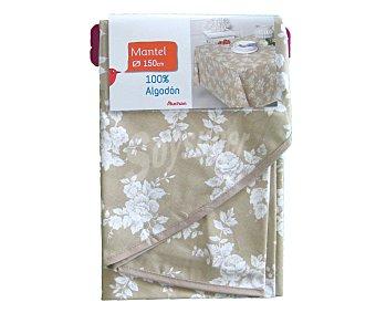Auchan Mantel redondo estampado floral color gris claro, 100% algodón, 150 centímetros 1 Unidad